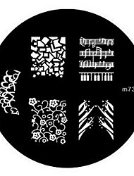 4PCS Nail Art Stamp Estamparia Imagem Modelo Placa M Series NO.1