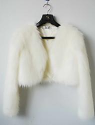 Chic Long Sleeve Faux Fur Evening/Casual Wrap/Evening Jacket Bolero Shrug