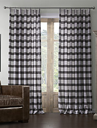 Two Panels  Mediterranean Linen Print Stripe Curtain