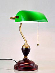 Complex Classical Continental Retro Table Light With Green Shade Wood Lamp Stand