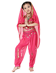 Dancewear Chiffon Belly Dance Outfits Top and Bottom and Scarf For Children More Colors