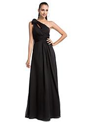 Mantel / Spalte ein-Schulter-Boden-Länge Chiffon Abendkleid
