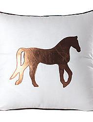 Modern Cavalo de linho e couro fronha decorativa