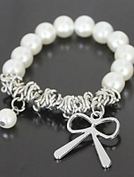 Argent noeud papillon perle Bracelet