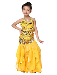 Dancewear Chiffon Belly Dance Outfits Top and Belt and Bottoms For Children More Colors