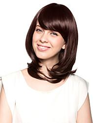 sin tapa los hombros de alta calidad de grado sintético color chocolate bob peluca de pelo estilo moderno