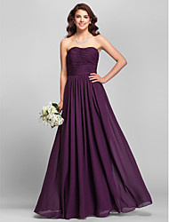 Lanting Bride Floor-length Chiffon Bridesmaid Dress A-line Strapless Plus Size / Petite with Side Draping / Ruching