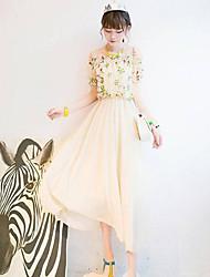 Correia das mulheres Trate a impressão floral emenda plissado Vestido Maxi