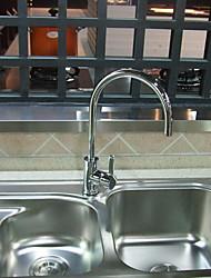 Zeitgenössische Chrome Finish Einhand drehbarer Messing Küchenarmatur