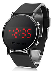 Unisex Jelly Sports Style Round Mirror Face Red Light LED Wrist Watch - Black