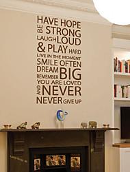 mots et citations stickers muraux ont l'espoir ne jamais abandonner stickers muraux lavables