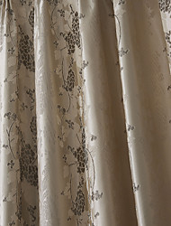 (Dois painéis) floral país jacquard forrado cortina