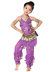 Dancewear Chiffon with Coins Belly Dance Outfits Top and Belt and Skirt For Children