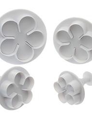 5 лепестков цветок Shaped Cookie Cutter с поршнем (4 шт)