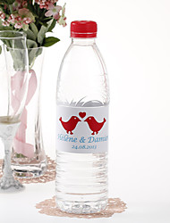 Personalized Water Bottle Sticker - Kissing Birds (Red/Set of 15)