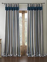 (Two Panels) Mediterranean Polyester Cotton Blend Jacquard Stripe Energy Saving Curtain