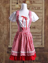 manga corta blusa corta blanca con tirantes falda roja traje lolita escuela