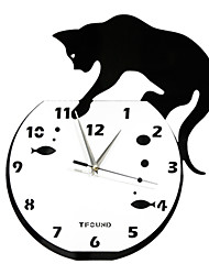 "15"" Naughty Cat Acrylic Fashion Wall Clock with DIY Dial and Hands Feature"
