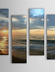 Oil Painting Landscape Sea and Beach  Set of 4 with Stretched Frame 1307-LS0106 Hand-Painted Canvas
