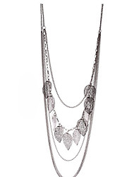 Women's Vintage Leaf Decorated Long Necklace