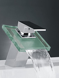 Contemporary Waterfall Bathroom Sink Faucet -Chrome Finish