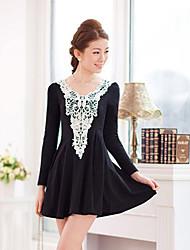 Plus Size Lace Crochet emenda plissado Vestido Midi das mulheres