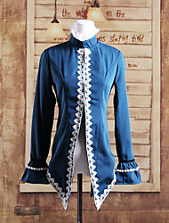 Coat Classic/Traditional Lolita Lolita Cosplay Lolita Dress Blue Patchwork Long Sleeve Lolita Coat For Women Cotton