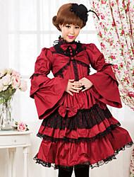 Long Sleeve Knee-length Red Terylene Gothic Lolita Dress