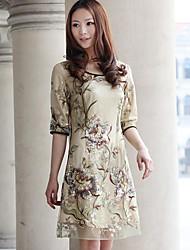 SIBOSHE elegante bordado do vestido de seda