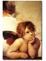 Printed Canvas Art Vintage Classic Cherub Two by Vintage Apple Collection with Stretched Frame