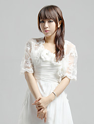 Wedding  Wraps Coats/Jackets Short Sleeve Lace Ivory Wedding / Party/Evening / Casual T-shirt Open Front