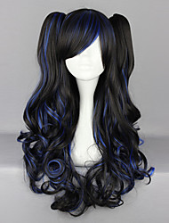 Black and Blue Blended Curly Pigtails 70cm Gothic Long Wig