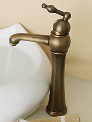 Art Deco/Retro Vessel Ceramic Valve One Hole Single Handle One Hole for  Antique Brass , Bathroom Sink Faucet