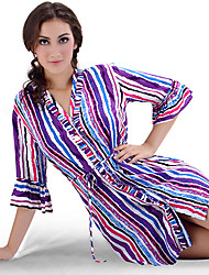 SHINEROSE  Fashion Cotton Colorful Stripes Short-sleeve Night Skirt