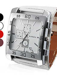 Men's Watch Dress Watch Big Square Dial PU Band Wrist Watch Cool Watch Unique Watch