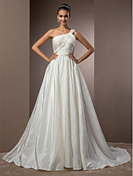 Lanting Bride A-line / Princess Petite / Plus Sizes Wedding Dress-Court Train One Shoulder Taffeta