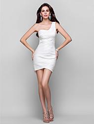 Sheath/Column One Shoulder Short/Mini Stretch Satin Cocktail Dress(648612)