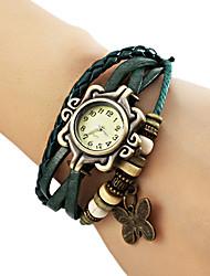 Damen Modeuhr Armband-Uhr Quartz PU Band Schmetterling Böhmische Schwarz Blau Braun Grün Schwarz Braun Grün Blau