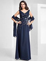 Formal Evening/Military Ball Dress - Dark Navy Plus Sizes Sheath/Column V-neck Floor-length Chiffon