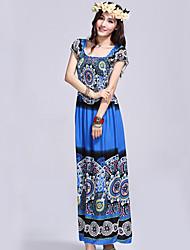 azul bohemia patrón de manga corta de vestir yittiya azar