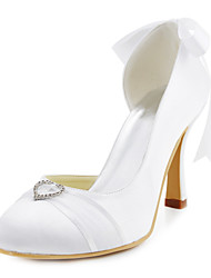 Charming Satin Stiletto Heel Pumps with Rhinestone and Bowknot Wedding Shoes(More Colors)