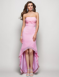 Dress - Candy Pink Sheath/Column Strapless Asymmetrical Chiffon