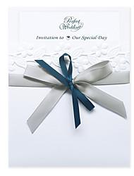Pretty White Wedding Invitation With Ribbon Bowknot (Set of 30)