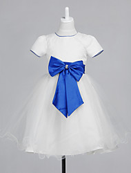 Lovely Short Sleeve Tulle/Lace Wedding/Evening Flower Girl Dress With Bow