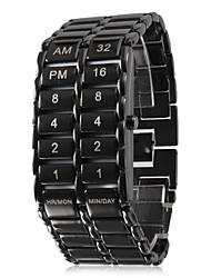 Men's LED Binary Display Black Alloy Wrist Watch