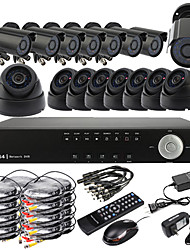 Ultra 16CH D1 Realtime H.264 CCTV DVR Kit (16 420 TV lijnen nachtzicht CMOS camera's, Outdoor en Indoor)