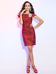 Cocktail Party Dress - Burgundy Plus Sizes / Petite Sheath/Column Off-the-shoulder Short/Mini Taffeta