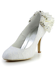 Elegant Satin Stiletto Heel Pumps with Imitation Pearl and Rhinestone Wedding Shoes(More Colors)