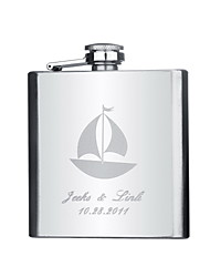 Gift Groomsman Personalized Stainless Steel 6-oz Flask - Sailboat