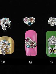 5PCS 3D enchido diamante Nail Art Alloy Detalhes 1,4 centímetros (cores sortidas)